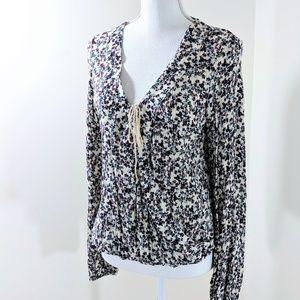 BOHO Shirt Faux Wrap Gauze Floral print